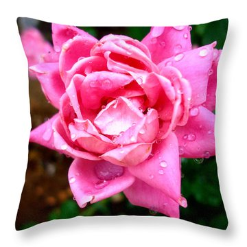 Pink Double Knockout Rose Throw Pillow by David G Paul