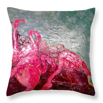 Throw Pillow featuring the painting Pink Flamingoes by Ana Maria Edulescu