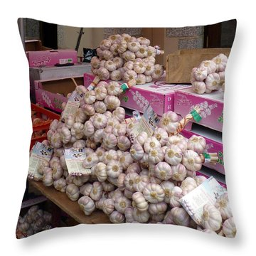 Throw Pillow featuring the photograph Pink Garlic by Carla Parris