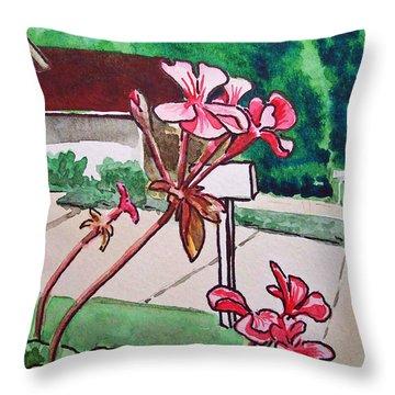Pink Geranium Sketchbook Project Down My Street Throw Pillow by Irina Sztukowski