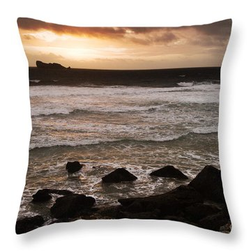 Pink Granite Coast At Sunset Throw Pillow by Heiko Koehrer-Wagner