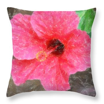 Throw Pillow featuring the photograph Pink Hibiscus by Donna  Smith