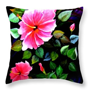 Pink Hibiscus Throw Pillow