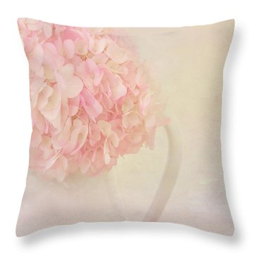 Pink Hydrangea Flowers In White Vase Throw Pillow by Kim Hojnacki