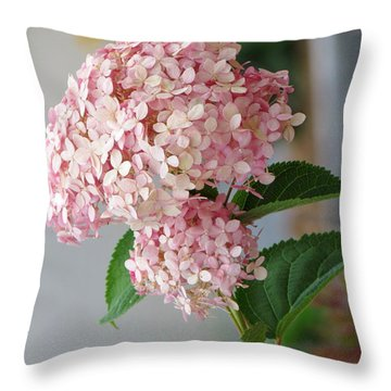 Pink Hydrangea Throw Pillow by France Laliberte