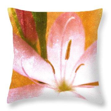 Pink Gladiolus On Orange Throw Pillow
