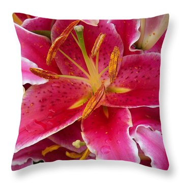 Pink Lily With Water Droplets Throw Pillow