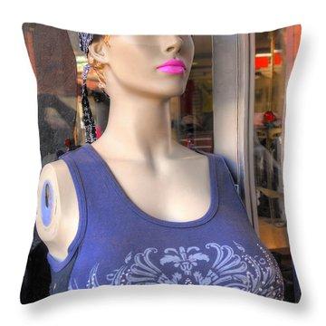 Pink Lipstick Throw Pillow