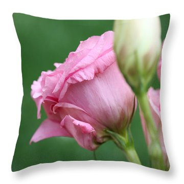 Pink Lisianthus Throw Pillow