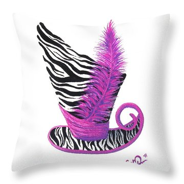 Throw Pillow featuring the painting Pink Magic Hat by Oddball Art Co by Lizzy Love