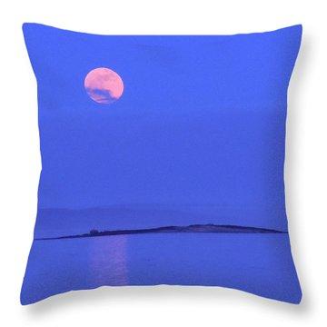 Pink May Moon Throw Pillow