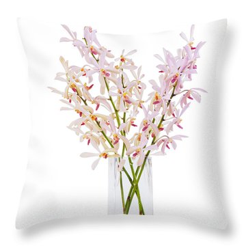 Pink Orchid In Vase Throw Pillow by Atiketta Sangasaeng