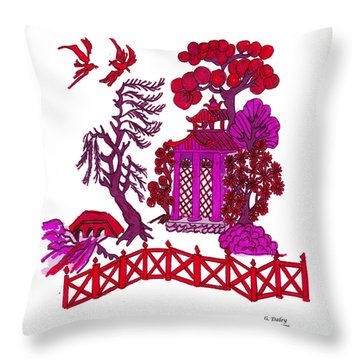 Pink Pagoda Throw Pillow by Gail Daley