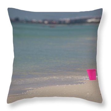 Pink Pail Throw Pillow