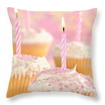 Pink Party Cupcakes Throw Pillow by Amanda Elwell