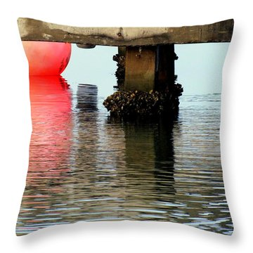 Pink Pearl Pilings Throw Pillow by Karen Wiles