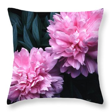 Pink Peony Pair Throw Pillow by Tom Wurl