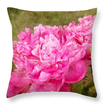 Pink Peony Texture 3 Throw Pillow by Bob and Nancy Kendrick
