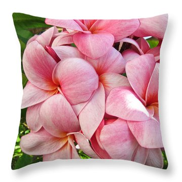 Throw Pillow featuring the photograph Pink Plumerias by Shane Kelly