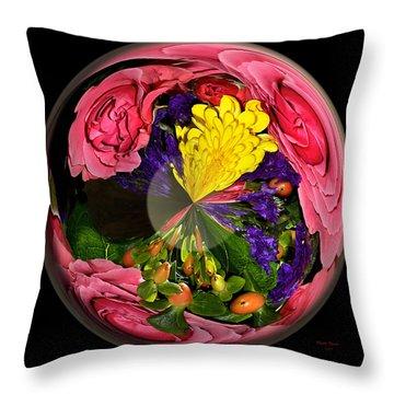 Pink Rose Globe Throw Pillow by Phyllis Denton