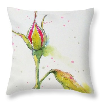 Pink Rosebud Throw Pillow