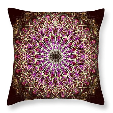 Pink Sun Mandala Throw Pillow