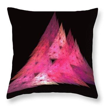 Pink Triangles Throw Pillow by Lynn Bolt