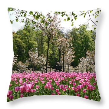 Pink Tulips And Blossom 2 Throw Pillow