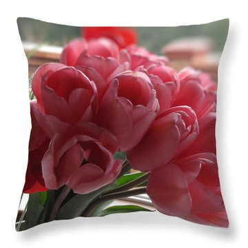 Pink Tulips In Vase Throw Pillow by Katie Wing Vigil