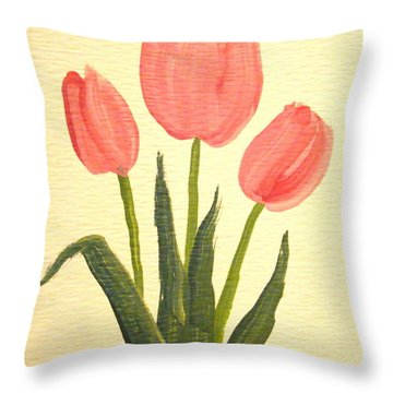 Pink Tulips Throw Pillow by Leea Baltes