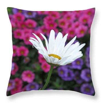 Pink White And Blue Throw Pillow by  Alfred Ng