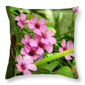 Throw Pillow featuring the photograph Pink Wild Flowers by Ester  Rogers