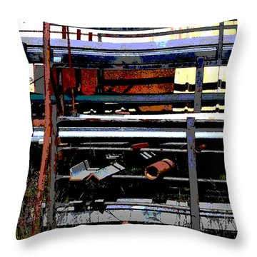 Pipes And Angle Iron Throw Pillow by Paulette B Wright