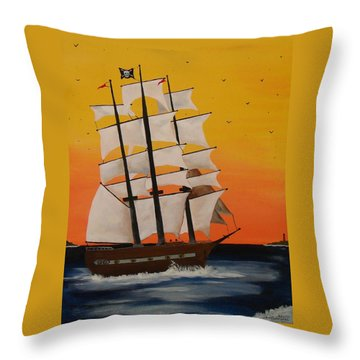 Pirate Ship At Dawn Throw Pillow by Paul F Labarbera