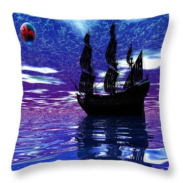 Pirate Ship Throw Pillow by Matthew Lacey