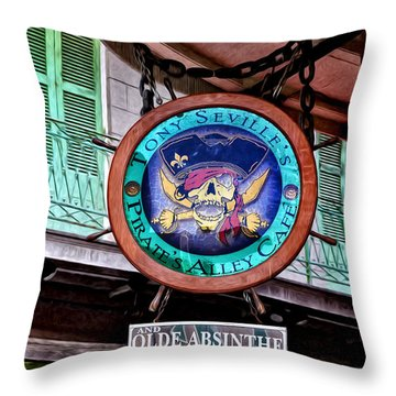 Pirates Alley Cafe Throw Pillow by Bill Cannon