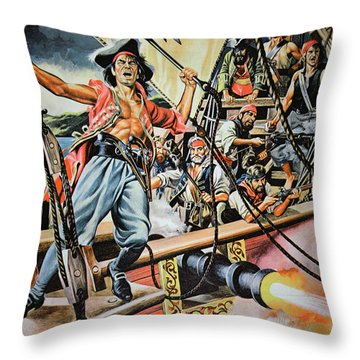 Pirates Preparing To Board A Victim Vessel  Throw Pillow by American School