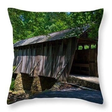 Pisgah Covered Bridge Throw Pillow