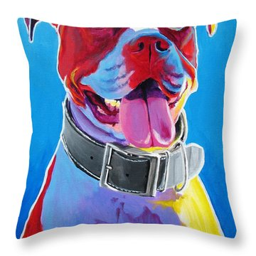 Pit Bull - Buster Throw Pillow by Alicia VanNoy Call