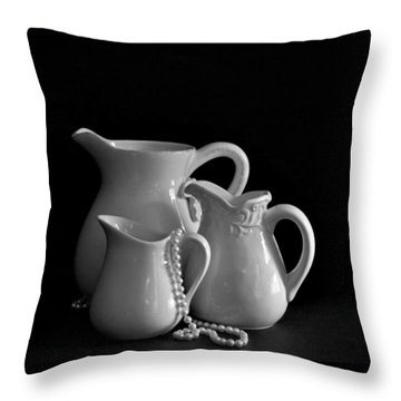 Pitchers By The Window In Black And White Throw Pillow by Sherry Hallemeier