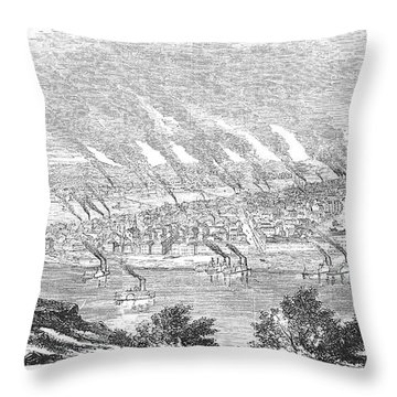 Pittsburgh, 1855 Throw Pillow by Granger