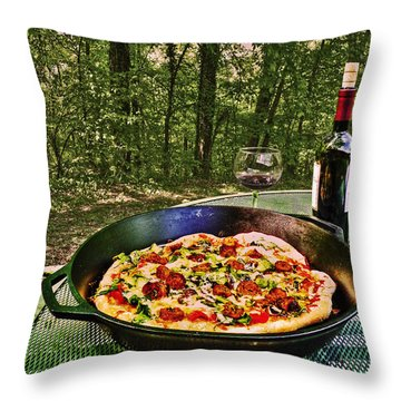 Throw Pillow featuring the photograph Pizza And Vino by William Fields