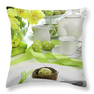 Place Setting With Card For Easter Brunch Throw Pillow by Sandra Cunningham