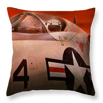 Plane - Pilot - Airforce - Go Get Em Tiger  Throw Pillow by Mike Savad