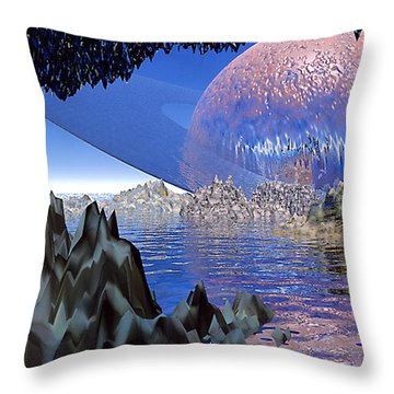 Planet Rising Throw Pillow