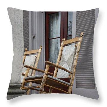 Plantation Rocking Chairs Throw Pillow by Carol Groenen