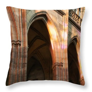Play Of Light And Shadow - Saint Vitus' Cathedral Prague Castle Throw Pillow by Christine Till