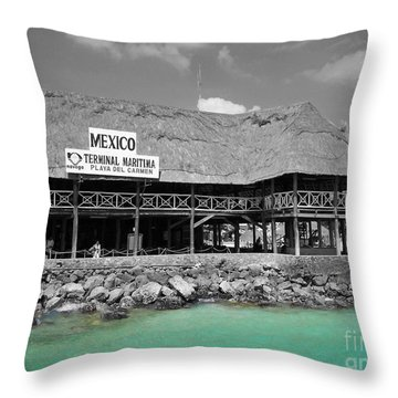 Throw Pillow featuring the photograph Playa Del Carmen Mexico Maritime Terminal Color Splash Black And White by Shawn O'Brien