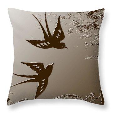 Playful Swalows Digital Art Throw Pillow by Georgeta  Blanaru