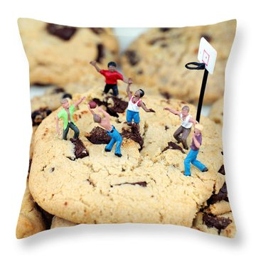 Playing Basketball On Cookies II Throw Pillow by Paul Ge